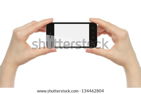Hands holding smart phone isolated on white background - stock photo