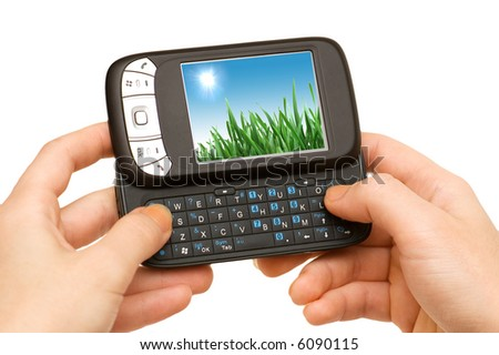 Hands holding smart phone isolated on white - more similar photos in my portfolio - stock photo
