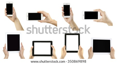 Hands holding smart phones and tablet-pc, isolated on white - stock photo