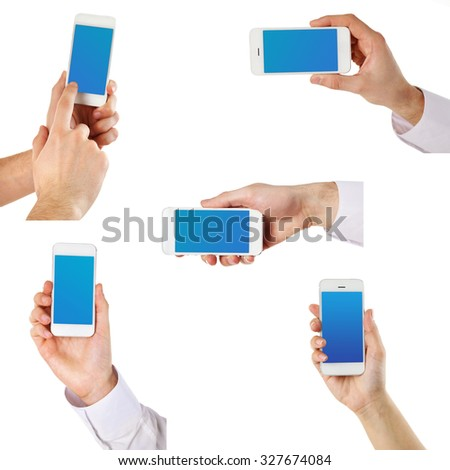 Hands holding smart phones with blue screens, isolated on white. Collage
