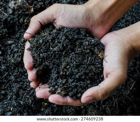 Hands holding soil - stock photo