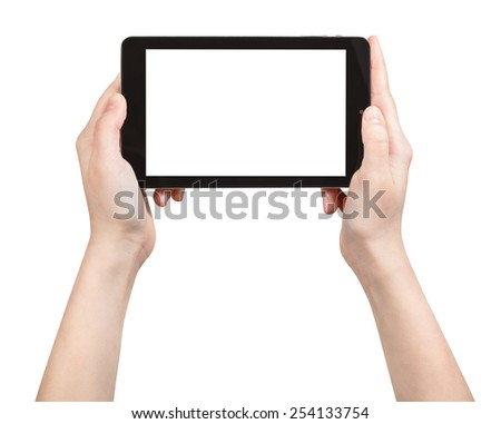 hands holding tablet pc with cut out screen isolated on white background - stock photo