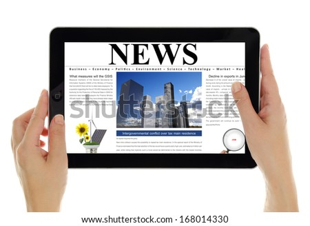 Hands holding tablet with digital news, isolated on white - stock photo