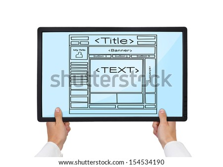 Hands holding tablet, with template website