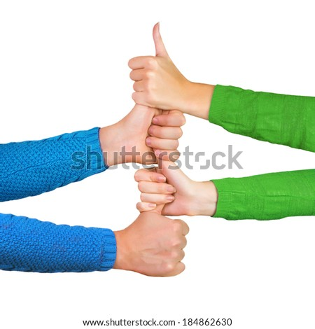 Hands holding thumbs up together isolated on a white background. Male and female hands - stock photo