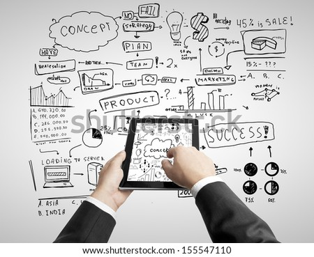 hands holding touch pad and business concept