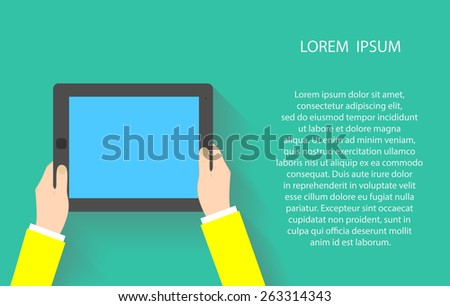 Hands holding touch screen tablet pc with blanc blue screen. illustration