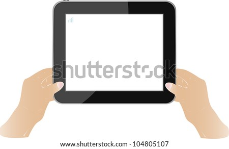 Hands holding touch screen tablet pc with blank screen. raster