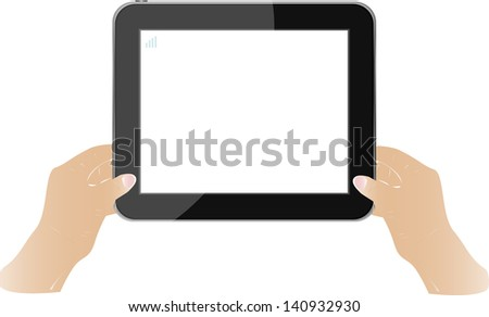 Hands holding touch screen tablet pc with blank screen, raster