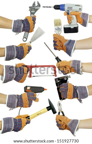hands holding various tools on white isolated - stock photo