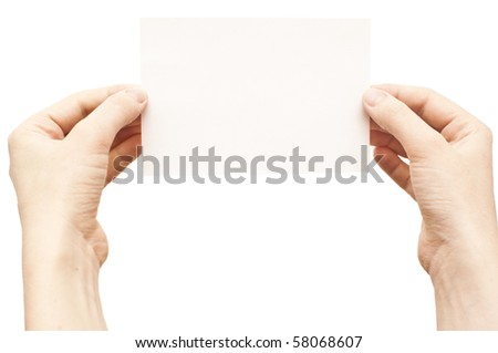 hands holding white empty paper isolate on white - stock photo