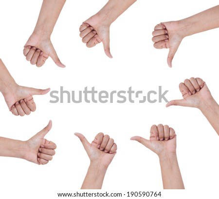 Hands in a circle with thumbs up sign ,isolated on white background