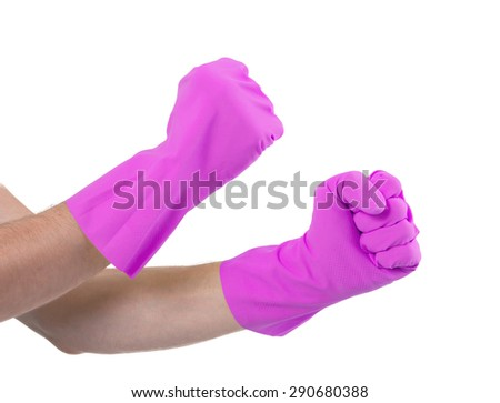Hands in a rubber gloves gesturing fist isolated on white background - stock photo