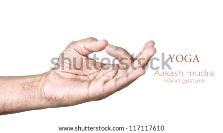 Hands in aakash mudra by Indian man isolated on white background. Free space for your text - stock photo