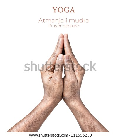 Hands in atmanjali prayer mudra by Indian man isolated on white background. Free space for your text - stock photo