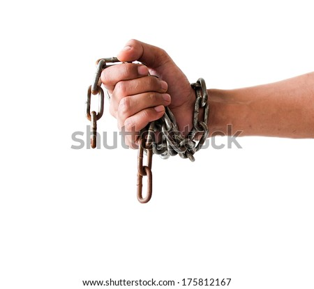 Hands in chains on a background white