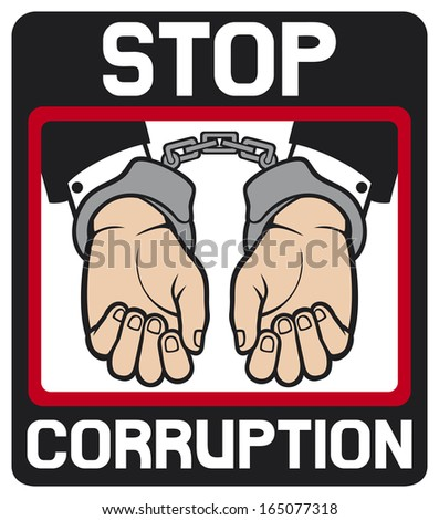 hands in handcuffs - stop corruption sign (stop corruption symbol, man hands with handcuffs) - stock photo