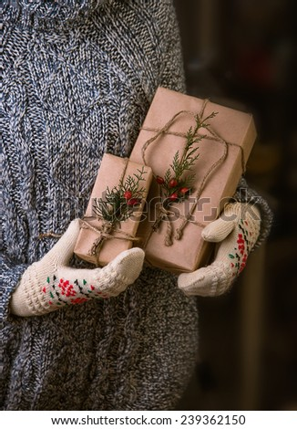 Hands in mittens holding gift box. Christmas gift wrapped in brown paper and twine held in hands with mittens - stock photo
