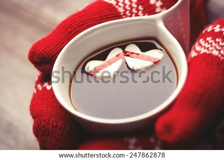Hands in mittens holding hot cup of coffee with marshmallow hearts - stock photo