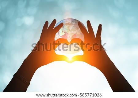 Hands in shape of love heart. Female door hands in the form of heart against & Hands Shape Love Heart Female Door Stock Photo 585771026 - Shutterstock