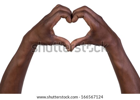 Hands in the form of heart isolated on white background - stock photo