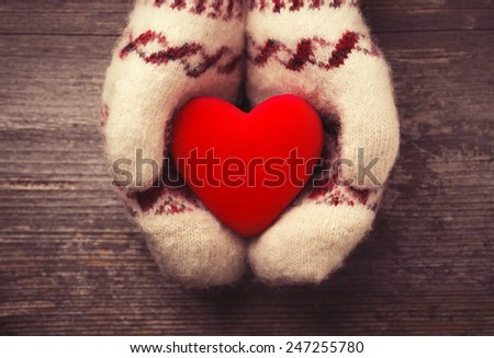 Hands in the mittens holding red heart - stock photo