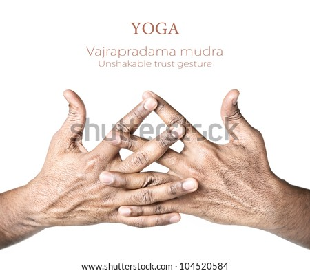 Hands in vajrapradama mudra, unshakable trust gesture by Indian man isolated on white background. Free space for your text