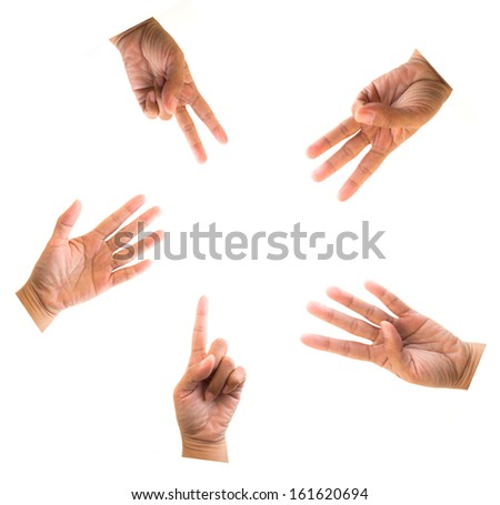 Hands in various positions isolated on white  - stock photo