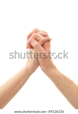 hands isolated on white - stock photo