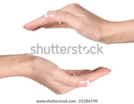 Hands isolated on white background - copy space