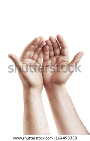 Hands isolated on white background High resolution  - stock photo
