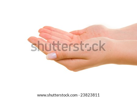 Hands joined together on white