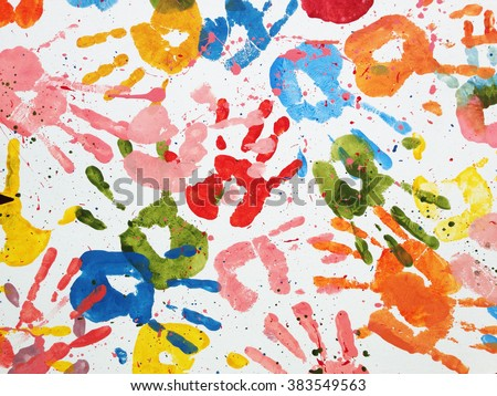 Hands Kids Color Art Background Stock Photo (Royalty Free) 383549563 ...