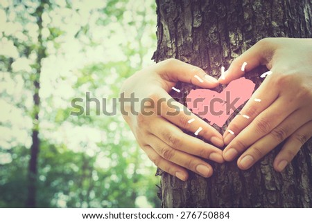 Hands make a heart sign on tree trunk with drawing heart, retro color style - stock photo