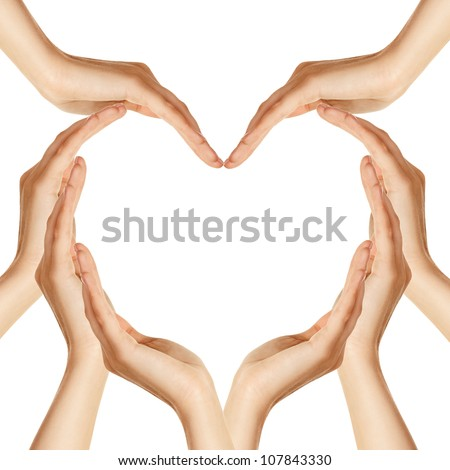 Hands make heart shape - stock photo