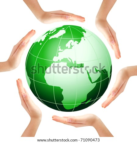Hands making a circle with green Earth