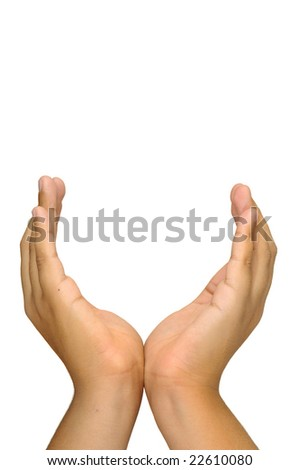 Hands making a cup isolated in white