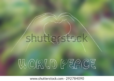 hands making heart sign, world peace, respect and love (on blurre palm tree background) - stock photo