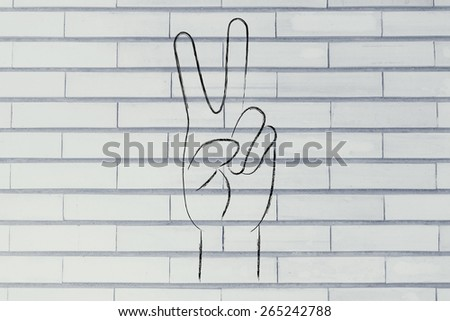 hands making peace sign, world peace, respect and happiness - stock photo