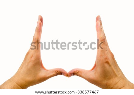 hands making the parenthesis on the white background with copyspace in the middle