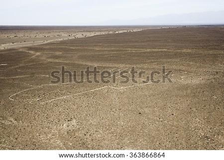 Hands (Manos), Nazca Lines, Aerial View, Peru - stock photo