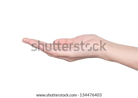 Hands of a caucasian female to shelter or catch small object, isolated on white