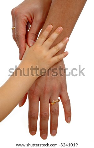 Hands of a child and mother.