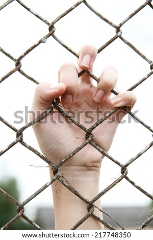 Hands (of a child) Mesh cage  - stock photo