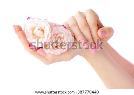 Hands of a woman with pink roses isolated on white background - stock photo