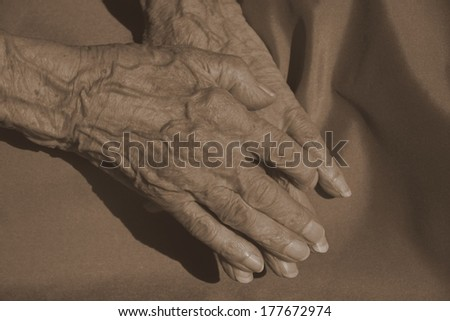 hands of an elderly woman - stock photo
