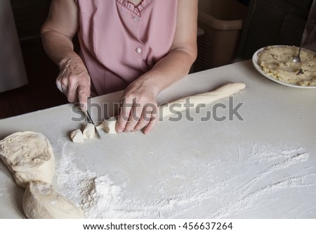 Hands of an old woman cut the dough into a blank for food near a plate filled with mashed potatoes - stock photo