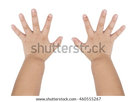 Hands of baby isolated on the white background