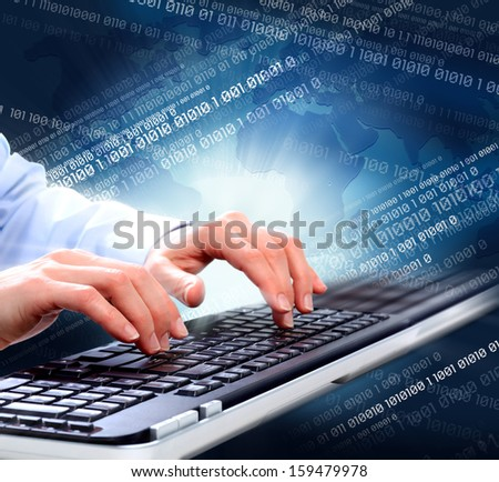 Hands of business woman with  computer keyboard. Technology. - stock photo