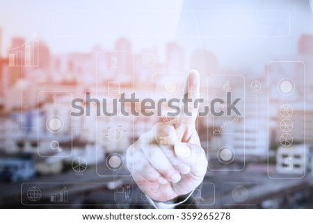 Hands of businesses touch screen. Can be deployed to create your ad. - stock photo